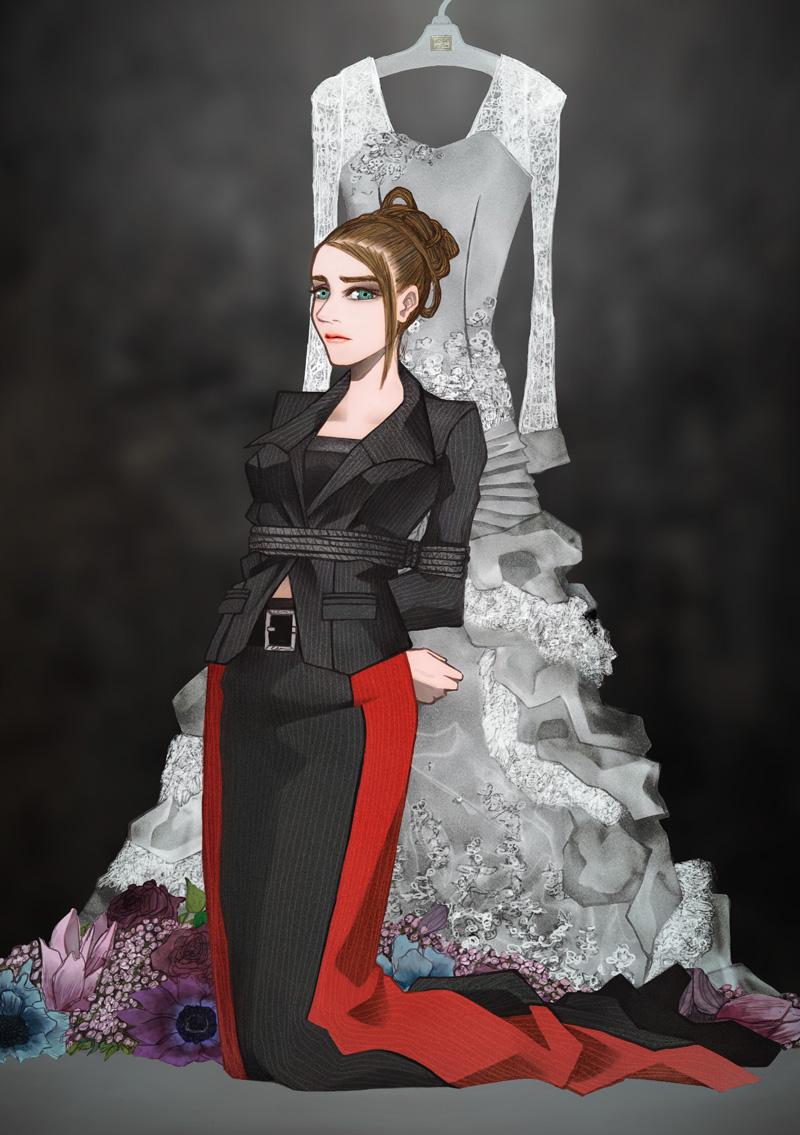 ウェディングドレスの前で縛られるスーツの女性
