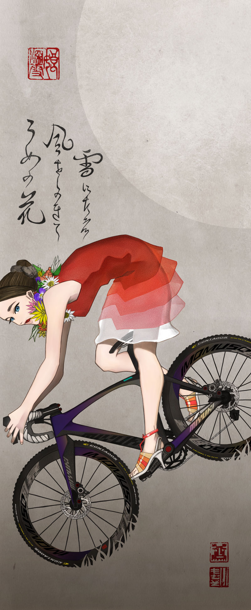 月にフェンディを着た女性とシクロクロスバイク