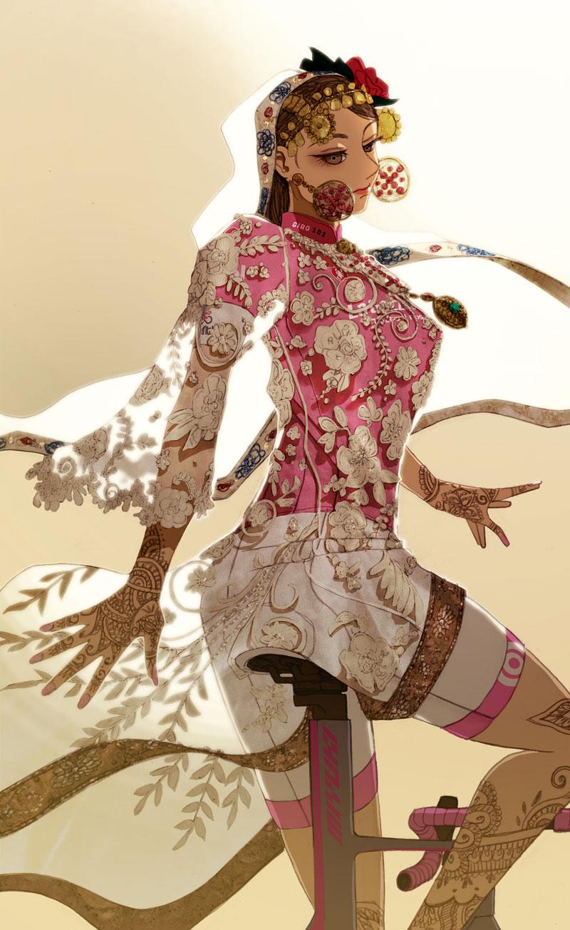どこかの民族衣装の下にマリアローザを着る女性