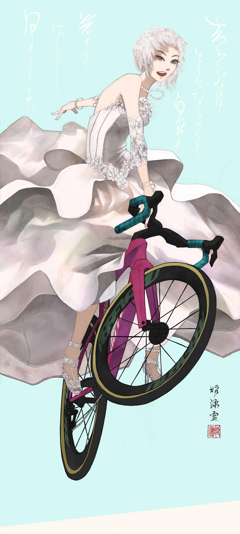 ウェディングドレスを着てフライオーバーでジャンプする女性