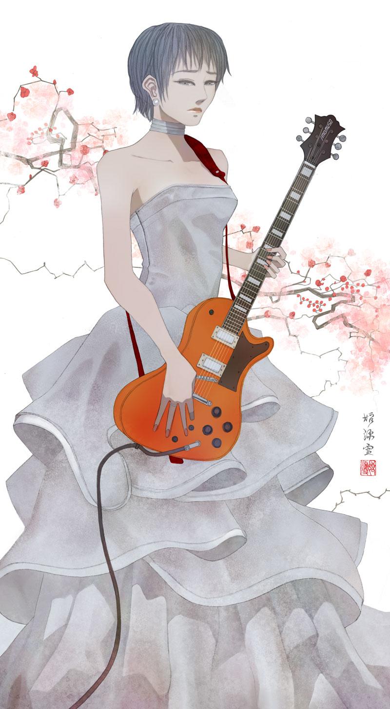 困った顔でウェディングドレスを着てギターを持つ女性