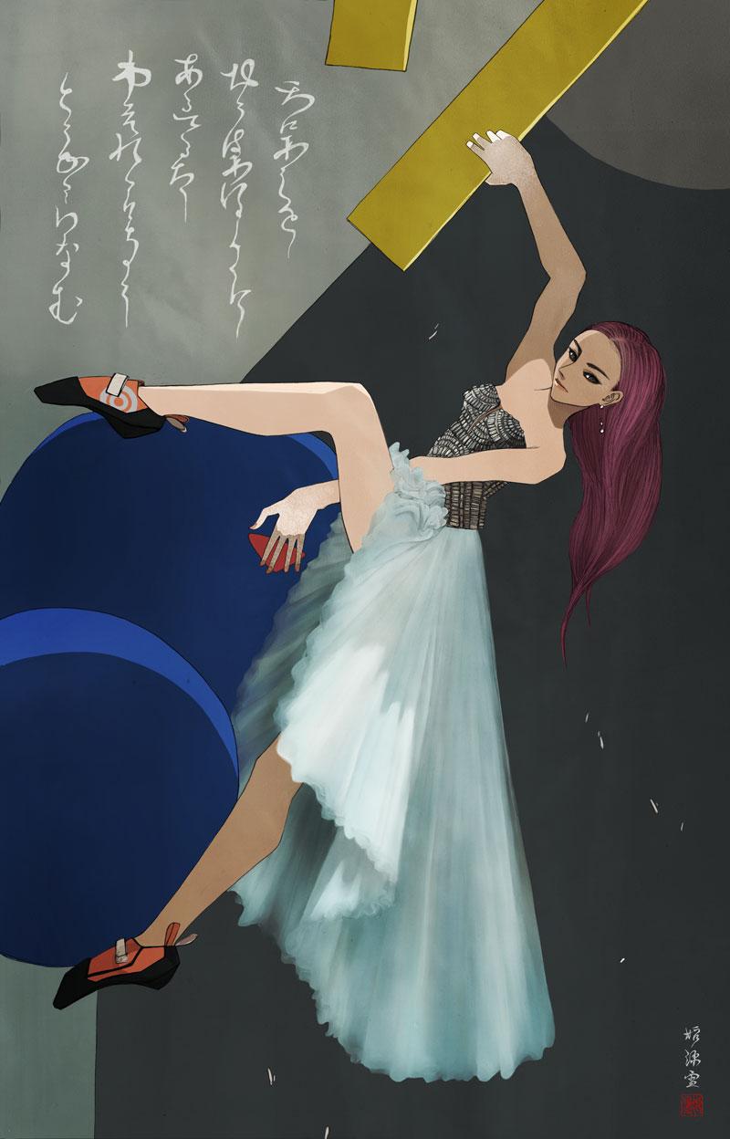 アルベルタフェレッティを着てボルダリングする女性