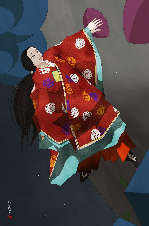 平安装束でボルダリングする女性