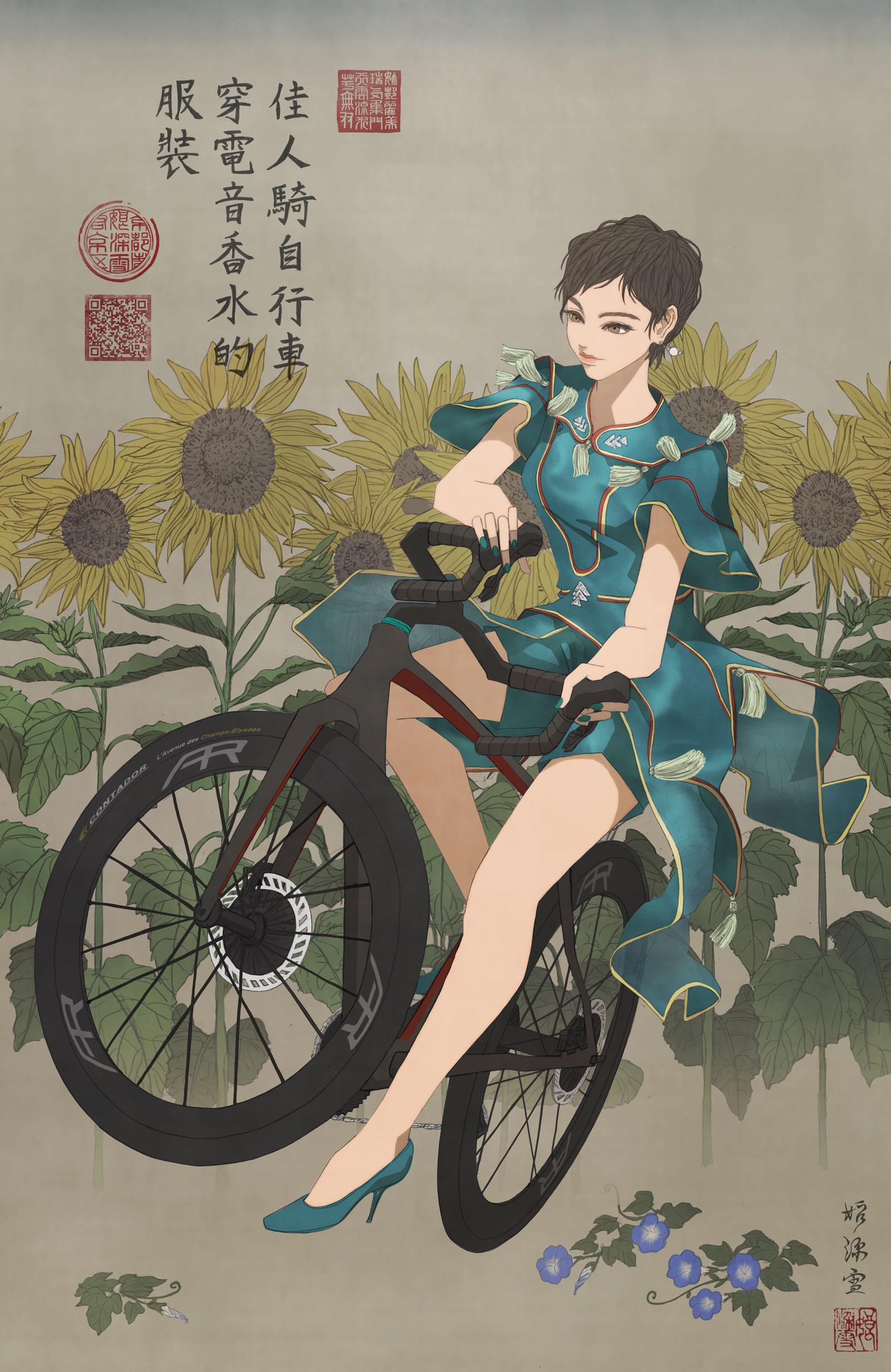 PerfumeのCling Clingの衣装を着て自転車に乗る女性