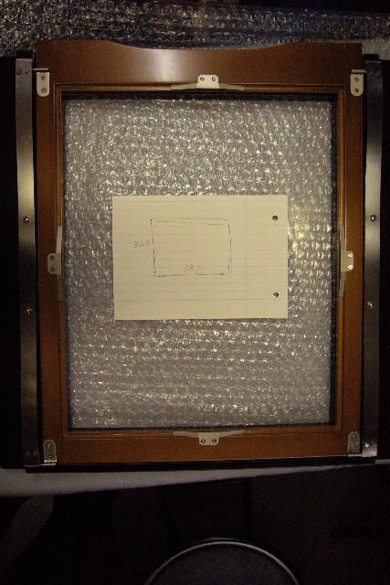 11X14カメラのピントグラス枠採寸