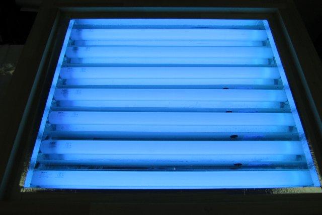 紫外線露光機点灯中