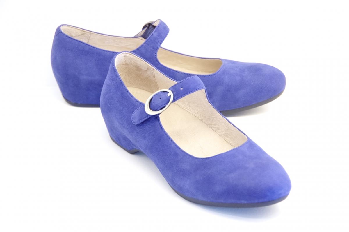 Linette Blue Milled Nubuck