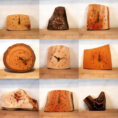 木の時計 3連時計 木のギフト 葉っぱの秒針 ロハスフェスタ