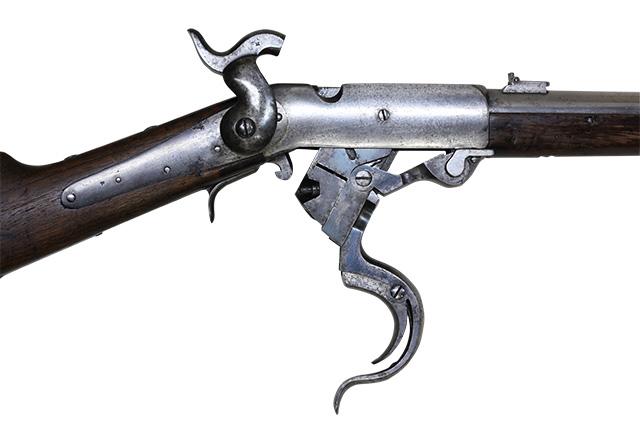 【5982】バーニンサイドM1864カービン(#14198、銃砲刀剣類登録証付古式銃)-トリガー開.jpg
