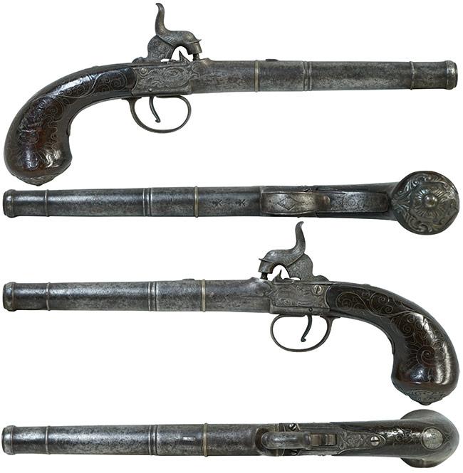 【6399】英国製-単発管打式拳銃-(Bunney-of-London社製、銃砲刀剣類登録証付古式銃)右.jpg