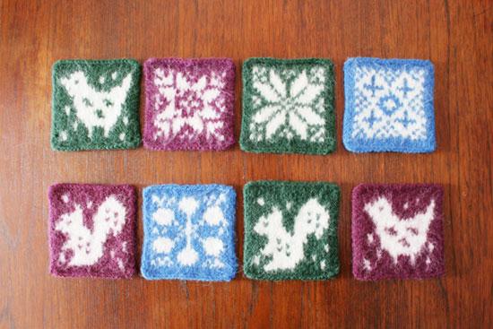 マルカ手芸部 「棒針編みの編み込みミニマット」