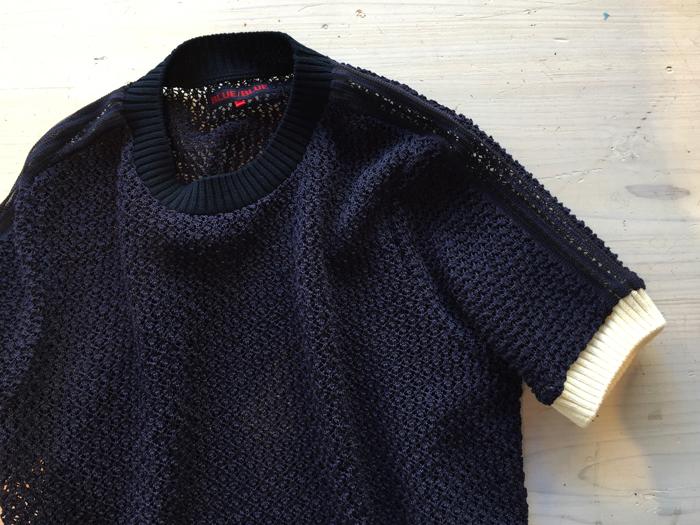BLUE BLUE/レーシーニット クルーネックラインドセータートップ ウイメンズ