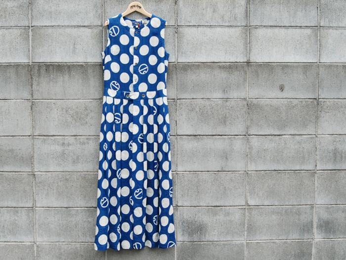 BLUE BLUE JAPAN/インディゴリネンレーヨン スズドットバッセンワンピース