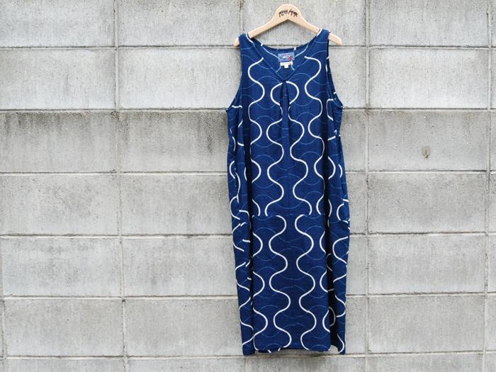 BLUE BLUE JAPAN/インディゴガーゼ タテワクバッセンVネックバルーンワンピース