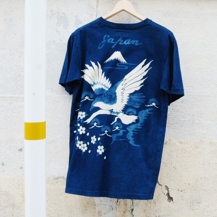OKURA/タカトマツ フジトサクラバッセンインディゴ ポケットTシャツ