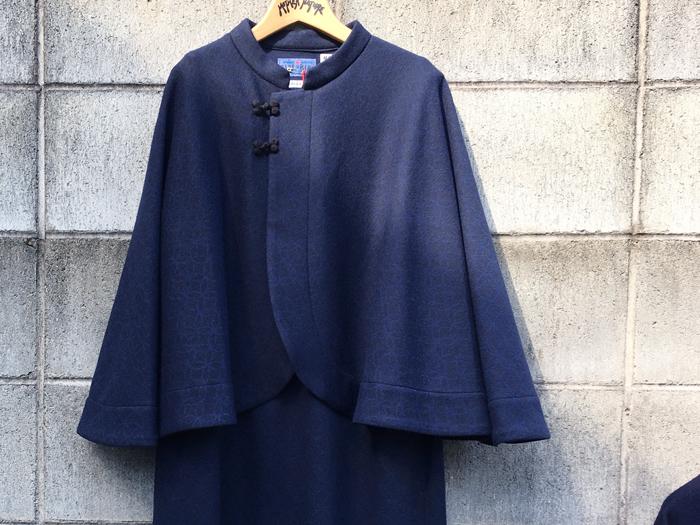 BLUE BLUE JAPAN/コンプレスドウール シッポウケープコートドレス