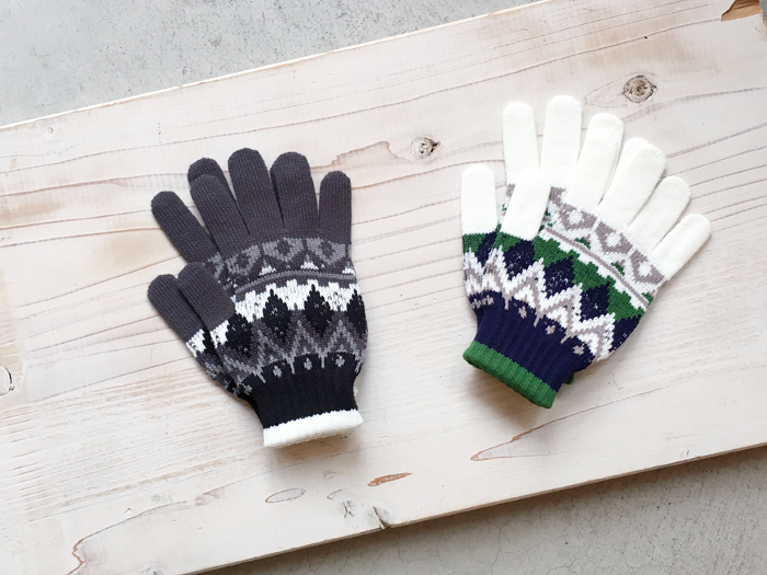 White Mountaineering/MULTI JACQUARD KNIT GLOVES
