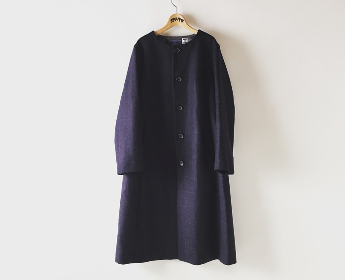BLUE BLUE JAPAN/ダブルクロス カスリメルトンノーカラーコート ウイメンズ