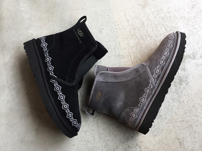 White Mountaineering/× UGG EMBROIDERED FRONT GORE BOOTS