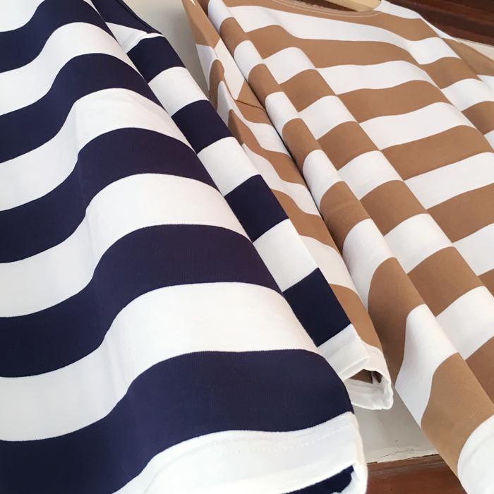 BLUE BLUE/ワイドボーダー ボートネックビッグTシャツ ウイメンズ