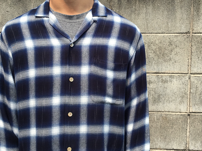 BLUE BLUE JAPAN/カスリレーヨンツイル オープンカラーシャツ