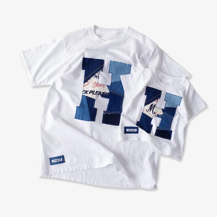 HOLLYWOOD RANCH MARKET/H.R.REMAKE カットオフパッチワーク HパッチTシャツ