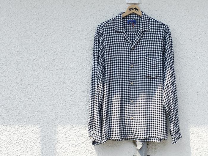BLUE BLUE JAPAN(ブルーブルージャパン)/カスリレーヨンツイル オープンカラーシャツ (WHITE)