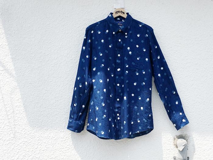 BLUE BLUE JAPAN(ブルーブルージャパン)/インディゴツイル カゲオイドット ボタンダウンシャツ (INDIGO)