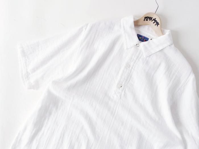 BLUE BLUE JAPAN/シャットルダブルガーゼ ポロスタイル リラックス SSシャツ