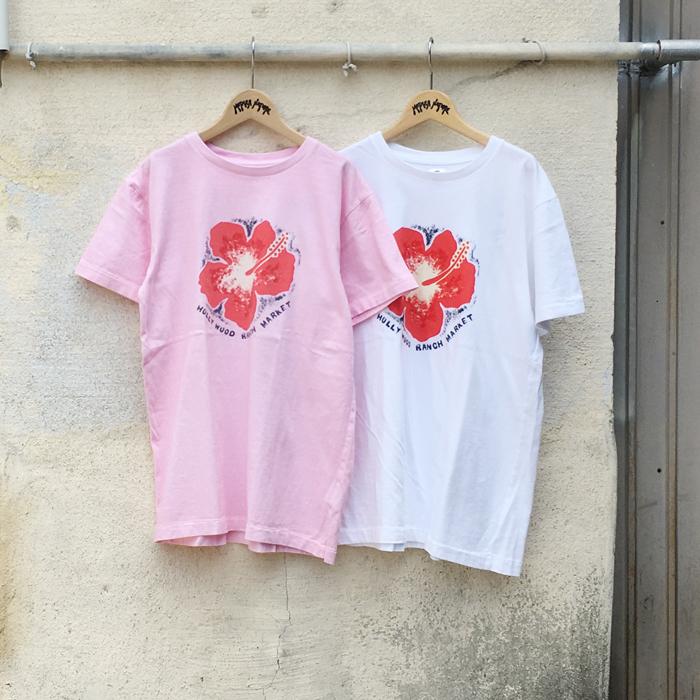 HOLLYWOOD RANCH MARKET/ハンドペインティングピクチャー ハイビスカスTシャツ