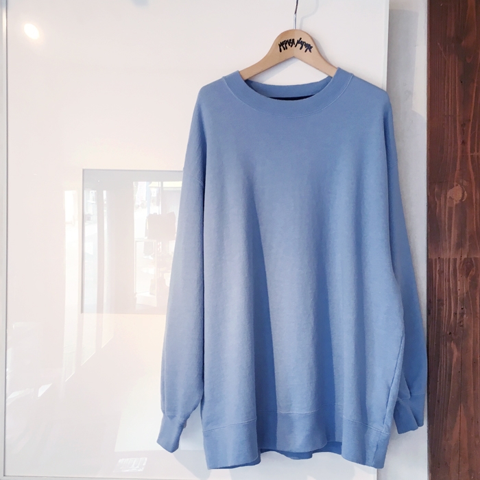 BLUE BLUE JAPAN/WOMEN INDIGO SLUB COTTON SWEAT OVERSIZED P/O