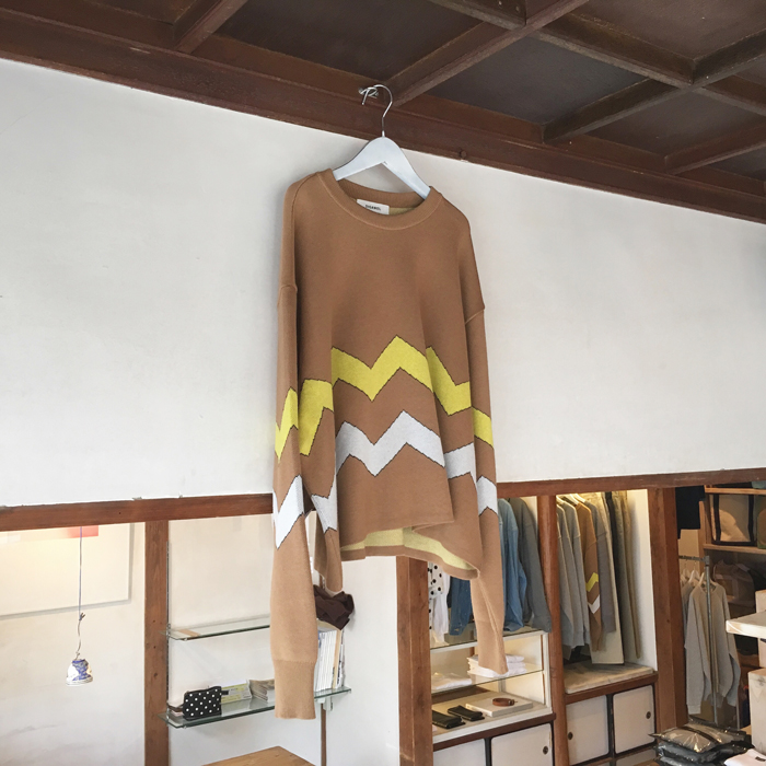 DIGAWEL/BORDER KNIT & SEWN SWEATER