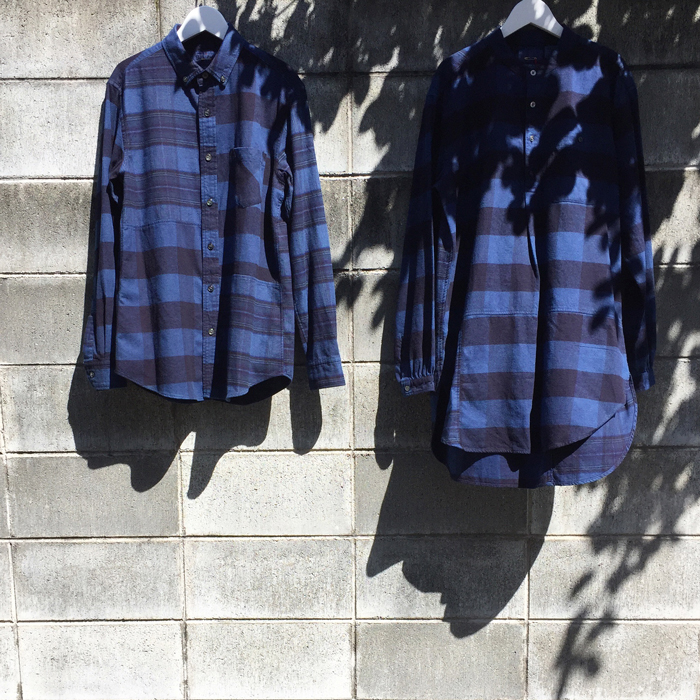 BLUE BLUE JAPAN/FLANNEL CHECK HAND DYED CUTOVER SH