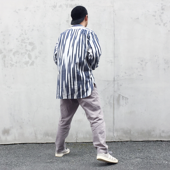 BLUE BLUE JAPAN/RAINFALL STRIPE PATTERN BAND-COLLAR LS SHIRT