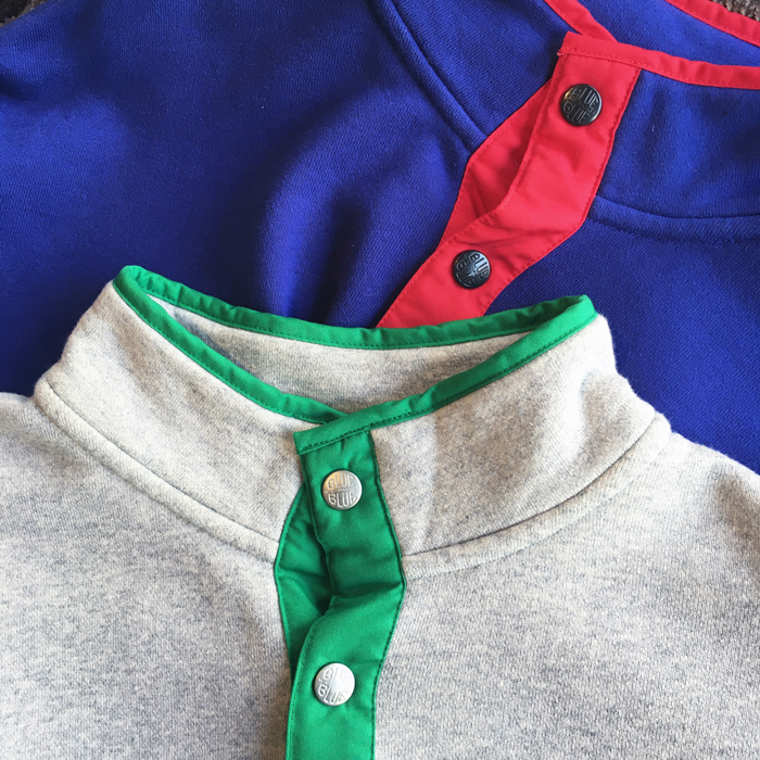 BLUE BLUE/SNAP PULLOVER SWEAT