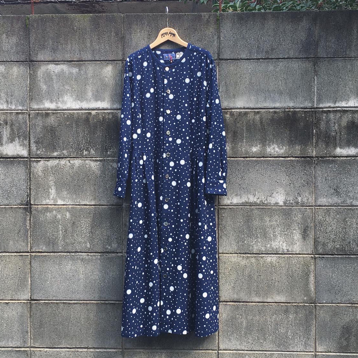 BLUE BLUE JAPAN/INDIGO FLANNEL SNOW DOT BASSEN SHIRT OP