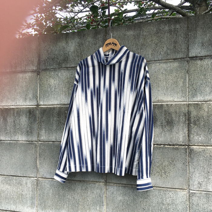 BLUE BLUE JAPAN/RAINFALL STRIPE HIGH NECK SHIRT WOMENS