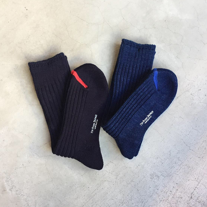 BLUE BLUE JAPAN/INDIGO COTTON SOX