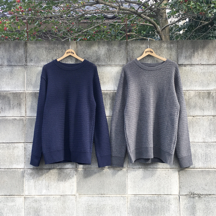 BLUE BLUE JAPAN/WOOL BASKET CREW NECK LS