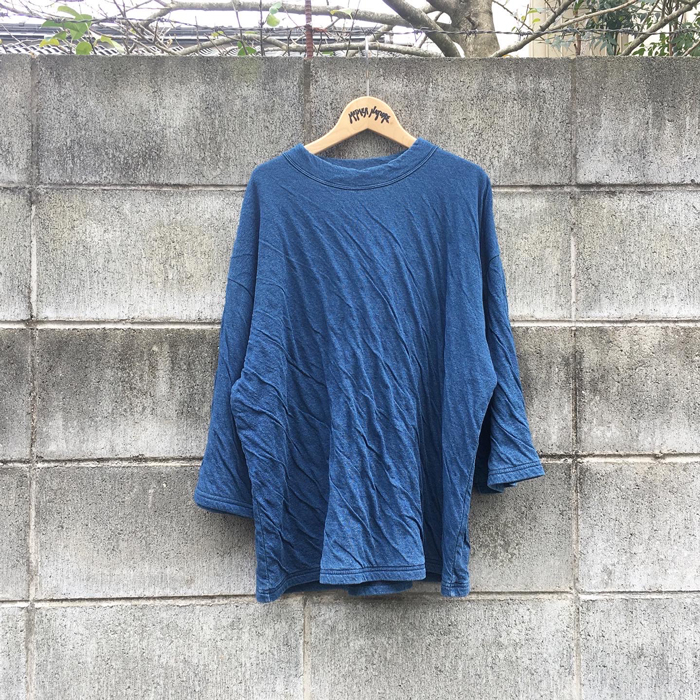 BLUE BLUE JAPAN/INDIGO WAVY TENJIKU OVERSIZED T-SHIRT WOMENS