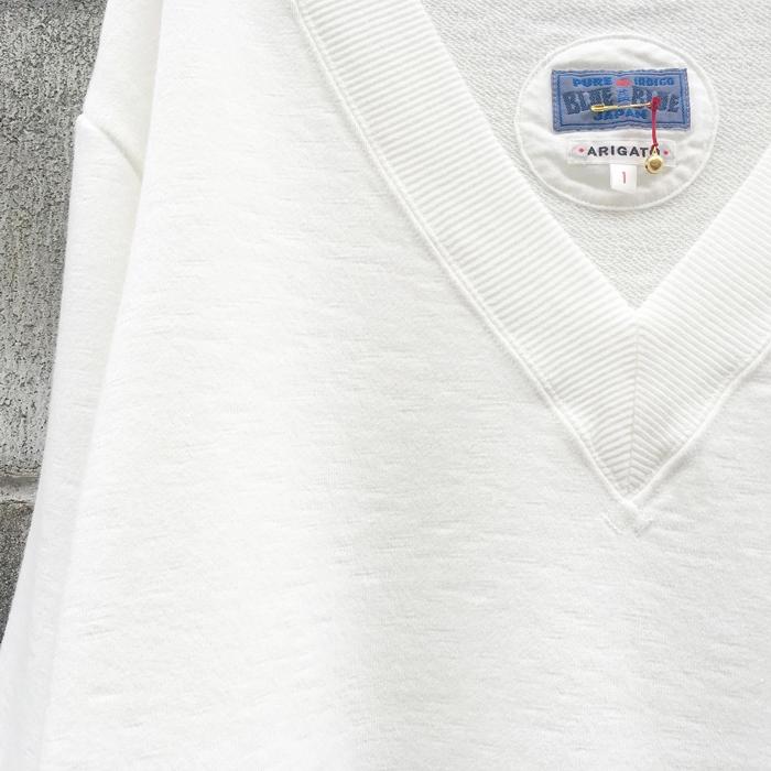 BLUE BLUE JAPAN/SHORT SLAB URAKE DEEP V NECK LS WOMENS