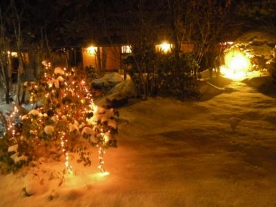 雪景色の中庭