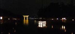 夜の厳島神社から見た大鳥居