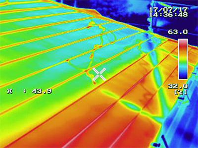 屋根塗装前後のサーモグラフィー比較