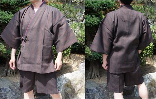 纏織り甚平の茶色