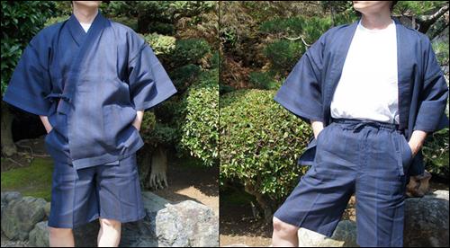 纏織り甚平の紺色