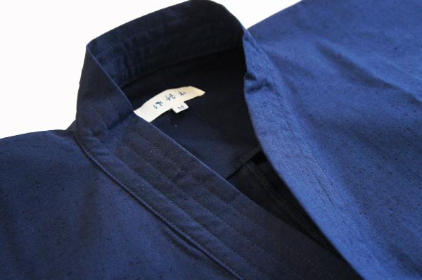 久留米織り作務衣の襟元