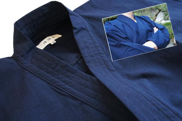 紺色 久留米織り作務衣