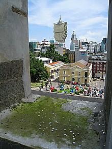 聖ポール天主堂跡から除いたマカオの風景