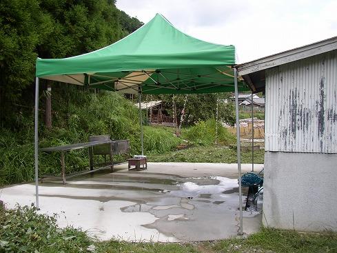 洗い場にはテントを張りました